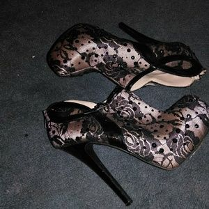 Black and nude lace high heels